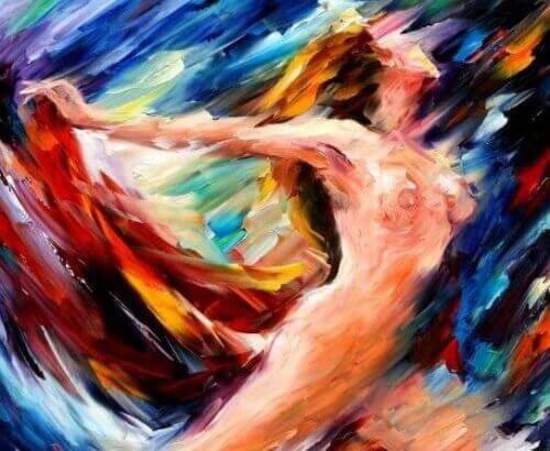 Pintura de mujer disfrutando su sexualidad