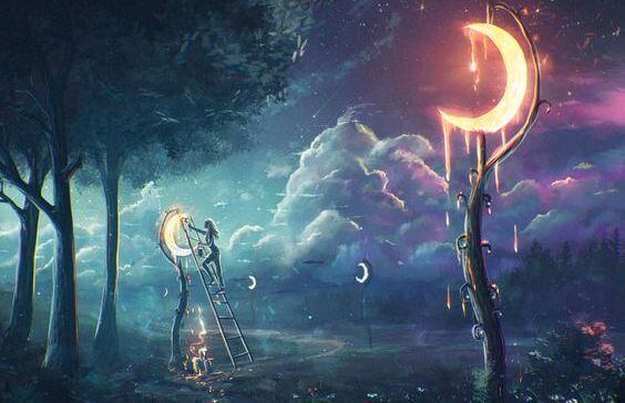 mujer colgando lunas en árboles