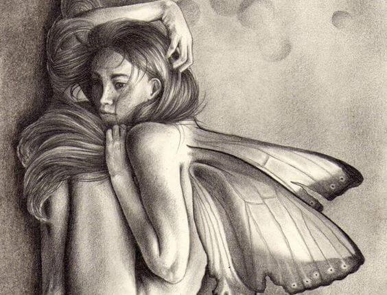 mulher assustada com borboletas