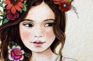 niña con flores en el pelo