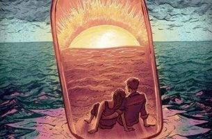 Pareja en crecimiento dentro de una botella en el mar