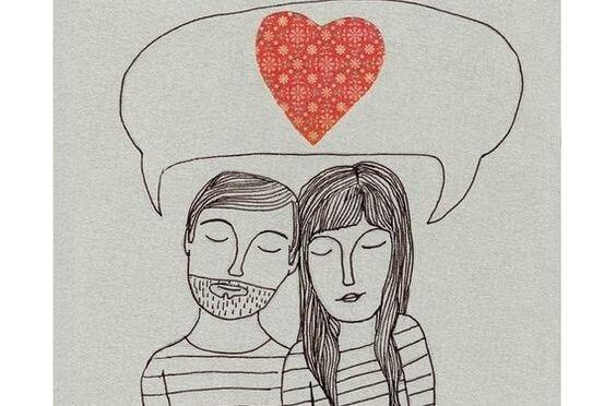 Pareja pensando en el amor