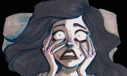 Rostro de mujer con ansiedad