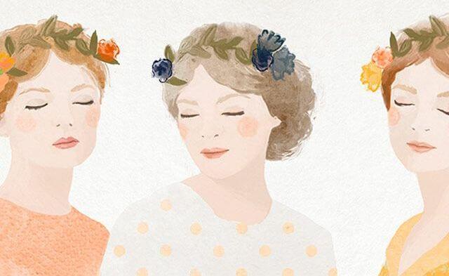 tres mujeres con flores en la cabeza