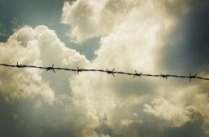 Alambre con púas de un campo de refugiados sobre nubes