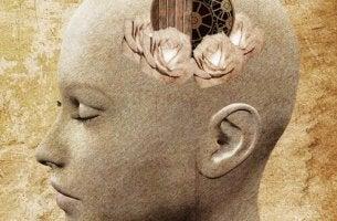 Cabeza de persona con corazón y mecanismo de pensar