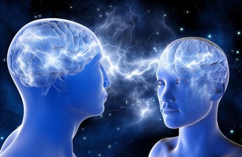 Cerebro de dos personas enamoradas