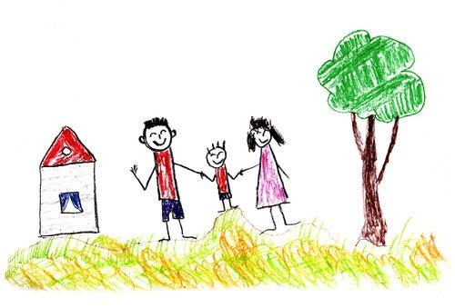 Dibujo de una casa, una familia y un árbol