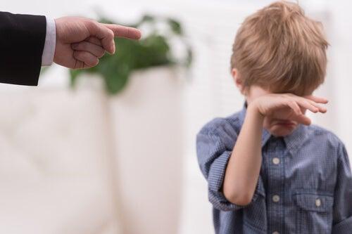Niño llorando señalado por su padre con el dedo