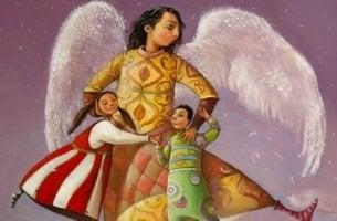 Ángel abrazando a dos niños representando la figura de los tíos