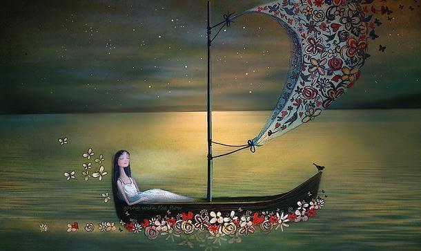 Mujer transitando la muerte en barca
