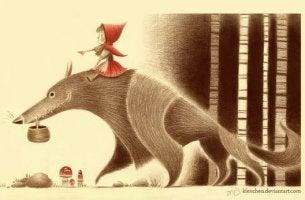 Ilustración de Caperucita mostrando queno escuchamos siempre la verdad