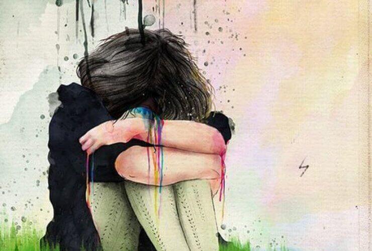 Chica llorando con tristeza