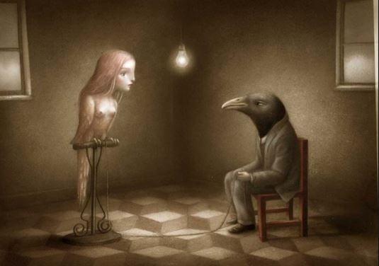 Cuervo y pájaro