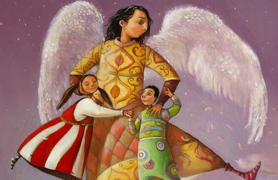 Hombre con alas abrazando a dos niños
