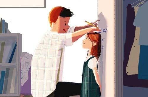 hombre marcando la altura de una niña