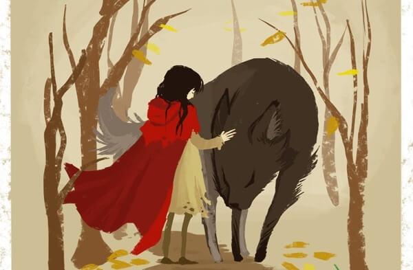 Ilustración de Caperucita y el lobo