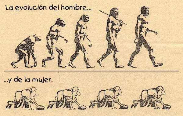 Parodia sobre la evolución de las mujeres