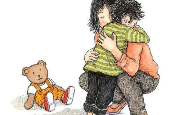 madre abrazando a sus hijos