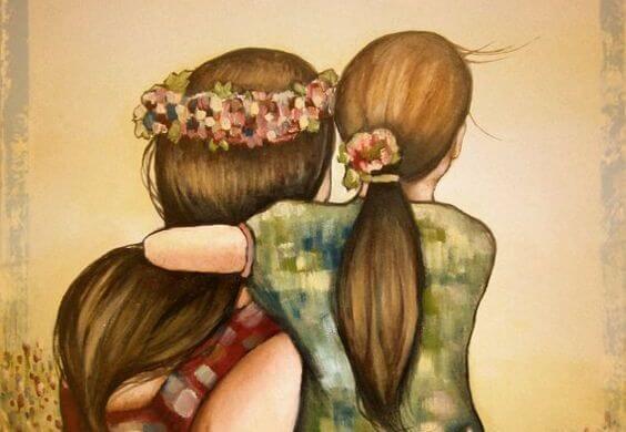 Madre e hijas agarradas