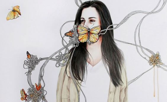 mujer con mariposa en la boca