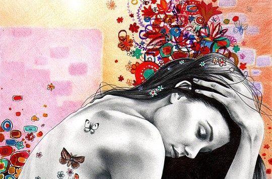 mujer con mariposas en la espalda