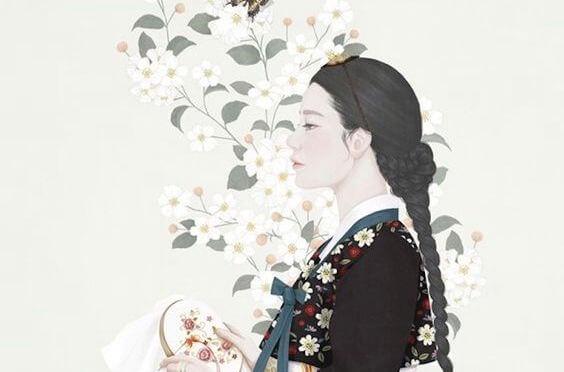 mujer con traje tradicional expresando bondad