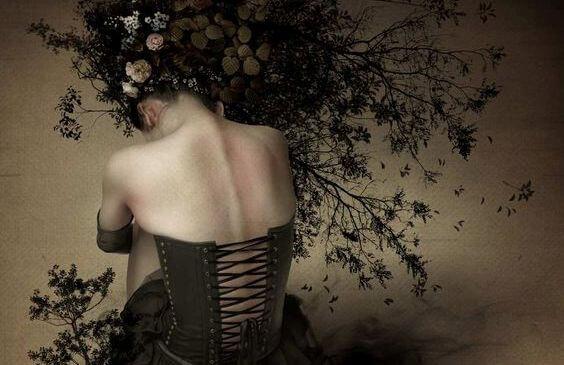 Mujer de espaldas con corsé