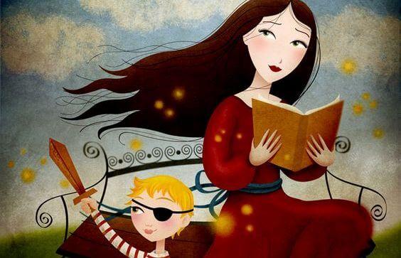 mujer leyendo un cuento a su hijo
