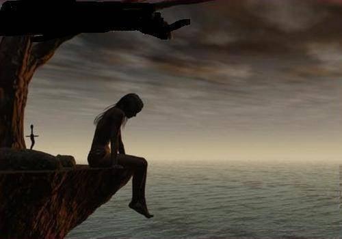 Mujer sentada en un precipicio pensando en el pasado