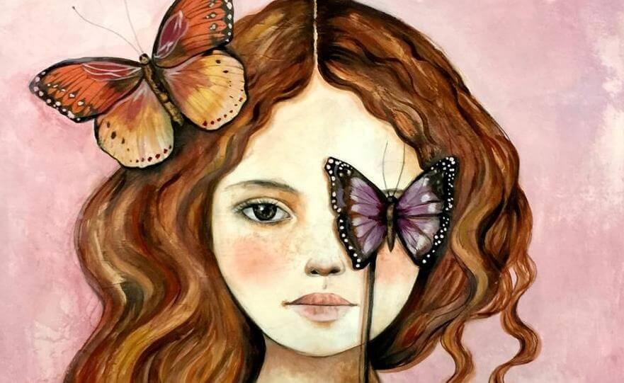 niña con mariposas en el rostro