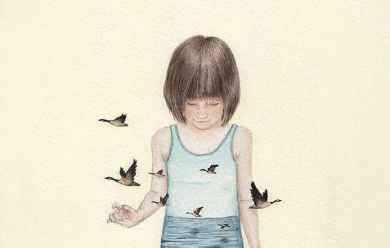 niña rodeada de pájaros