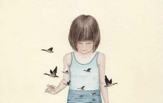 niña rodeada de pájaros pensando en su padre ausente