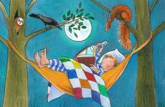 niño leyendo en una hamaca