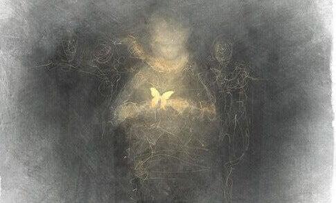 Niño con mariposa con luz representando la higiene mental
