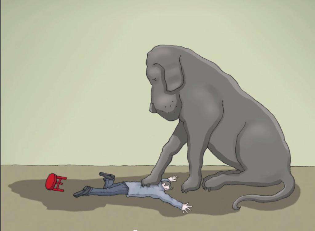 Perro negro pisando a un hombre