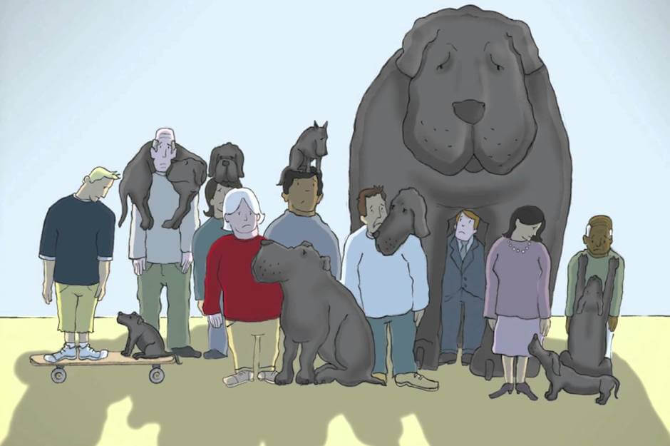 Persona-con-perro-negro
