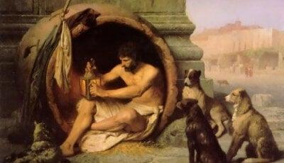 Pintura de Diógenes de Sínope viviendo en un tonel