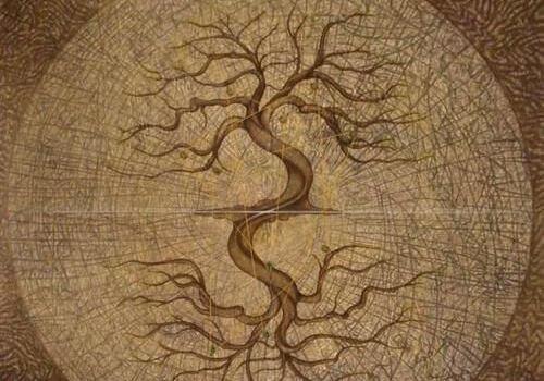 Árbol con raíces y ramas
