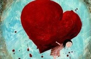Chica soportando la carga de un amor