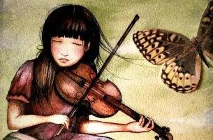 chica con violín y mariposa representando amar tu trabajo