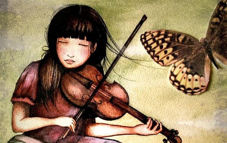 chica con violín y mariposa