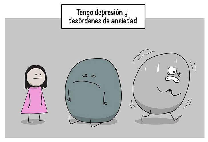 Viñeta 1 del comic de ansiedad y depresión
