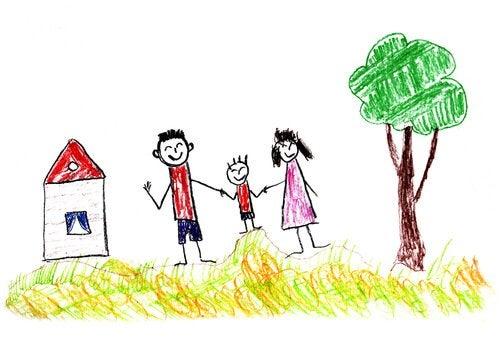 Dibjo de un test de la personalidad con una casa y una familia