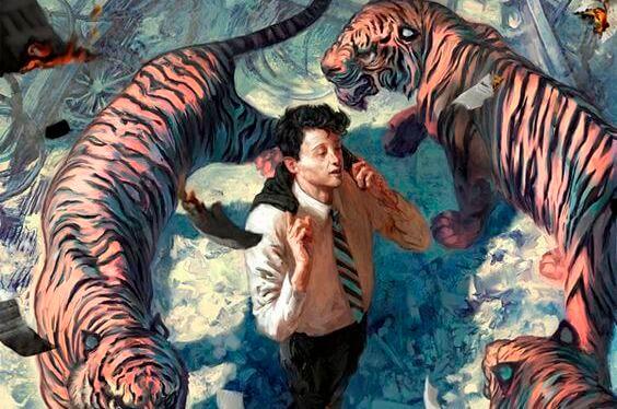 hombre rodeado de tigres evitando soportar el peligro de la vida