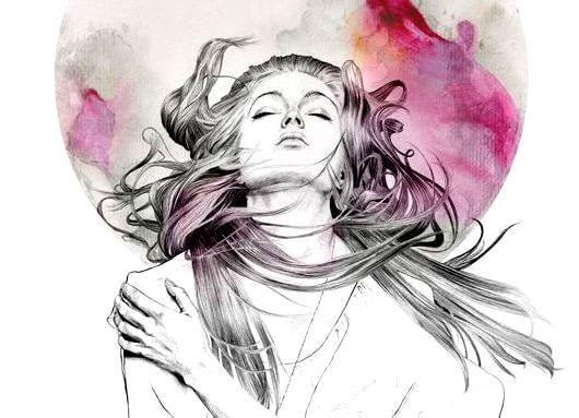 ilustracion mujer con los ojos cerrados