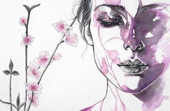 ilustración mujer en rosa sufriendo dolor de cabeza