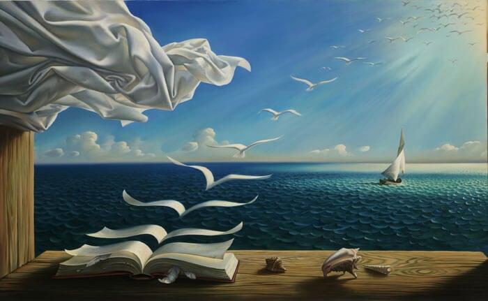libros volando representando la creatividad