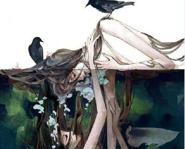 Mujer ahogándose con su reflejo