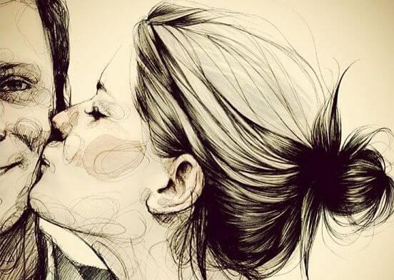 mujer besando a un hombre sin esperar a que los demás actúen